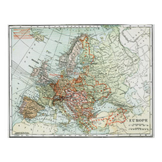Vintage Map of Europe (1920) Poster
