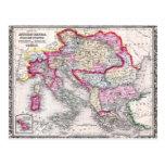 Vintage Map of Europe Austria Italy Turkey Greece Postcard