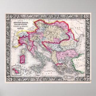 Vintage Map of Europe Austria Italy Turkey Greece Poster