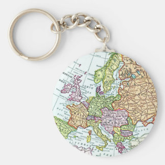Vintage map of Europe colorful pastels Basic Round Button Keychain