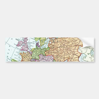 Vintage map of Europe colorful pastels Bumper Sticker