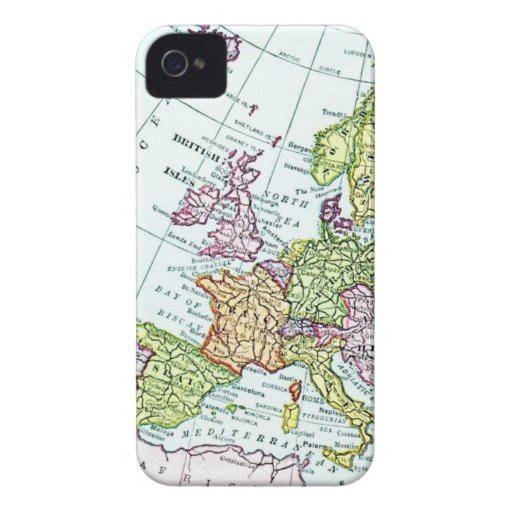 Vintage map of Europe colorful pastels Blackberry Bold Cases