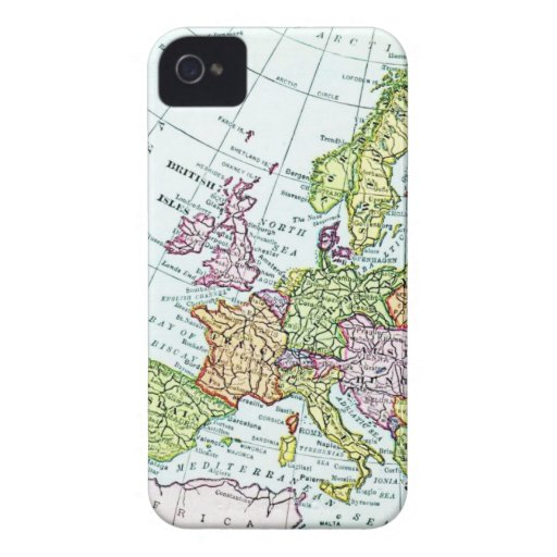 Vintage map of Europe colorful pastels iPhone 4 Covers