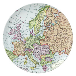 Vintage map of Europe colorful pastels Dinner Plate