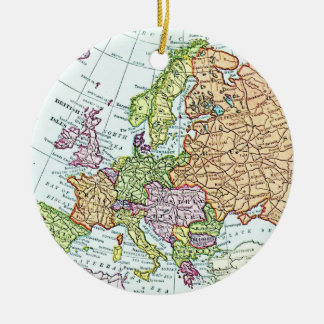 Vintage map of Europe colorful pastels Double-Sided Ceramic Round Christmas Ornament