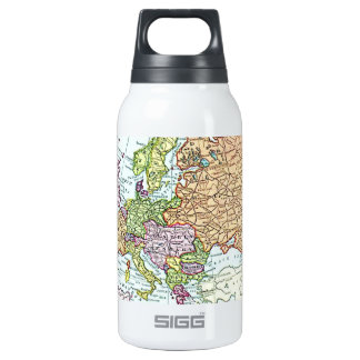 Vintage map of Europe colorful pastels Insulated Water Bottle