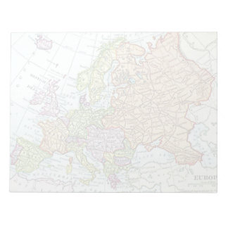Vintage map of Europe colorful pastels Notepad