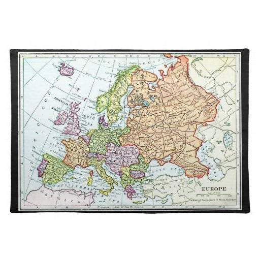 Vintage map of Europe colorful pastels Place Mat