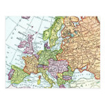 Vintage map of Europe colorful pastels Post Card