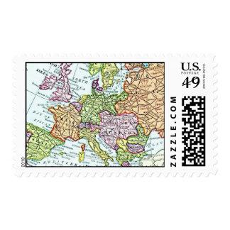 Vintage map of Europe colorful pastels Postage Stamp