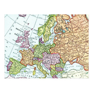 Vintage map of Europe colorful pastels Postcard