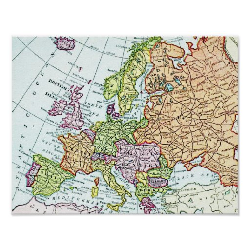 Vintage map of Europe colorful pastels Posters