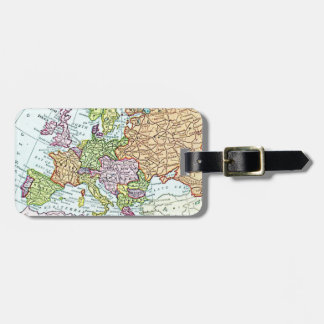 Vintage map of Europe colorful pastels Tags For Luggage