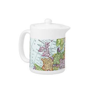 Vintage map of Europe colorful pastels Teapot