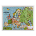 Vintage Map of Europe from 1923 Print