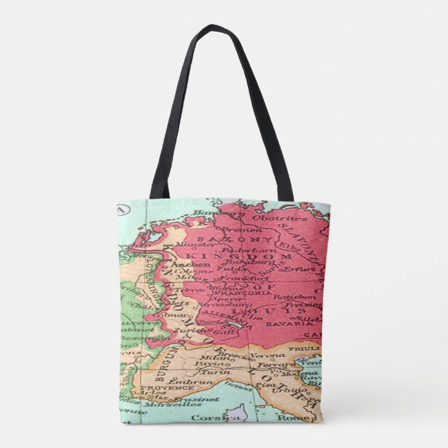 Vintage map of Europe Pattern in Coral and Mint