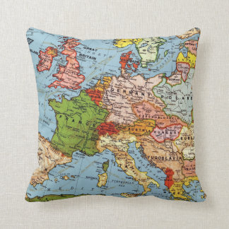 Vintage Map of Europe Pillow