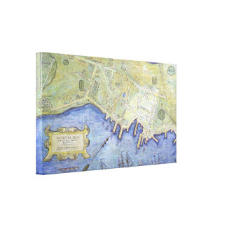 Vintage Map of Falmouth Neck Maine (1775) Canvas Print