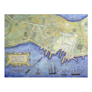 Vintage Map of Falmouth Neck Maine (1775) Postcard