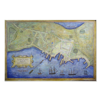 Vintage Map of Falmouth Neck Maine (1775) Poster