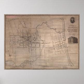 Vintage Map of Fayetteville North Carolina (1822) Poster