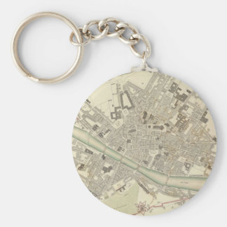 Vintage Map of Florence Italy (1835) Basic Round Button Keychain