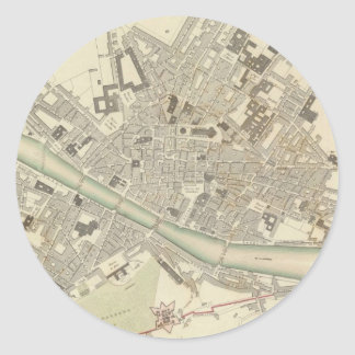Vintage Map of Florence Italy (1835) Classic Round Sticker