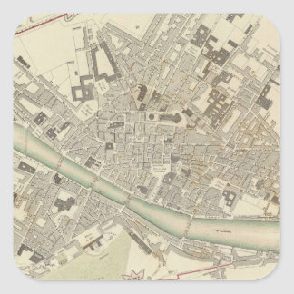 Vintage Map of Florence Italy (1835) Square Sticker