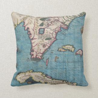 Vintage Map of Florida (1591) Throw Pillow