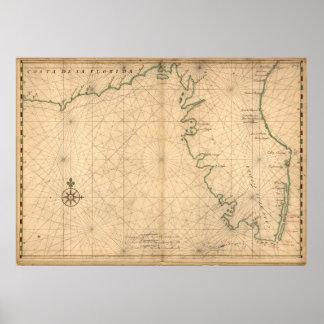 Vintage Map of Florida (1639) Poster