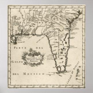Vintage Map of Florida (1763) 2 Poster
