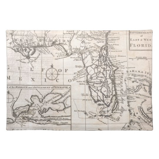 Vintage Map of Florida (1763) Cloth Placemat