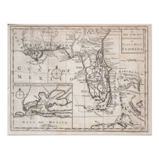 Vintage Map of Florida (1763) Poster