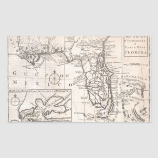Vintage Map of Florida (1763) Rectangle Stickers