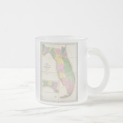 Vintage Map of Florida (1839) 10 Oz Frosted Glass Coffee Mug