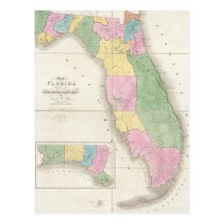Vintage Map of Florida (1839) Postcard