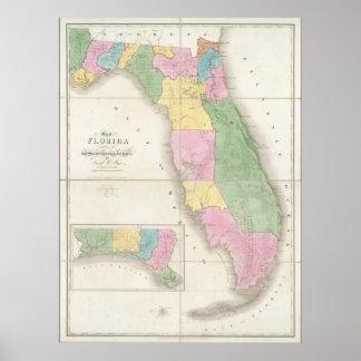 Vintage Map of Florida (1839) Poster