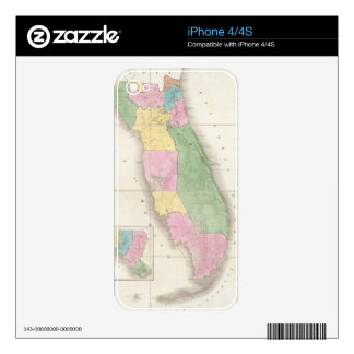 Vintage Map of Florida (1839) Skins For iPhone 4