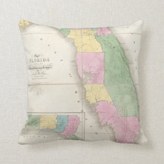 Vintage Map of Florida (1839) Throw Pillow