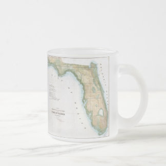 Vintage Map of Florida (1848) Frosted Glass Coffee Mug