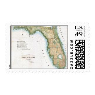 Vintage Map of Florida (1848) Stamp