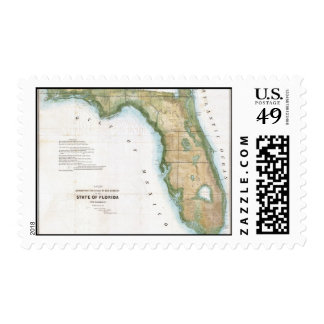 Vintage Map of Florida (1848) Postage Stamp