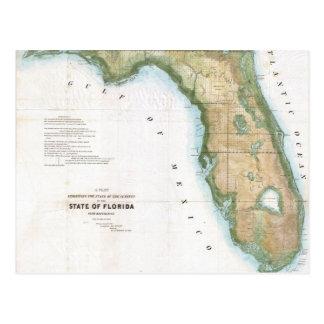 Vintage Map of Florida (1848) Postcard