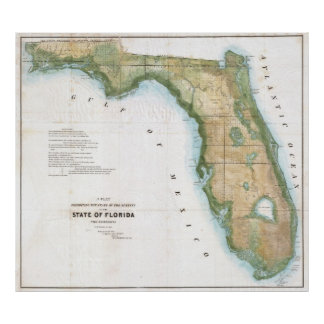 Vintage Map of Florida (1848) Posters