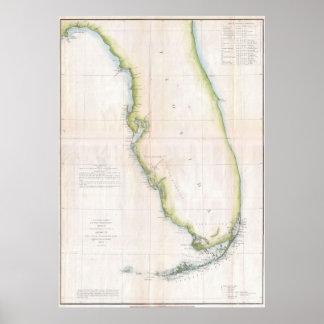 Vintage Map of Florida (1852) Poster