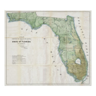 Vintage Map of Florida (1853) Poster