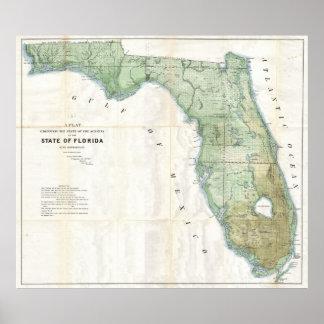 Vintage Map of Florida (1853) Poster