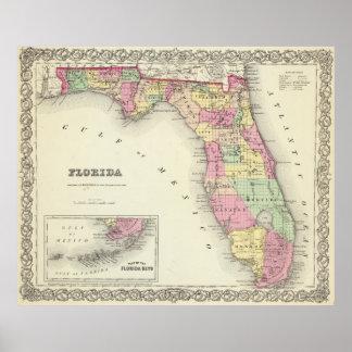 Vintage Map of Florida (1856) Poster