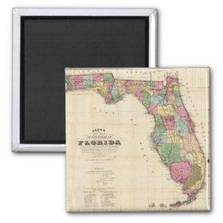 Vintage Map of Florida (1870) 2 Inch Square Magnet