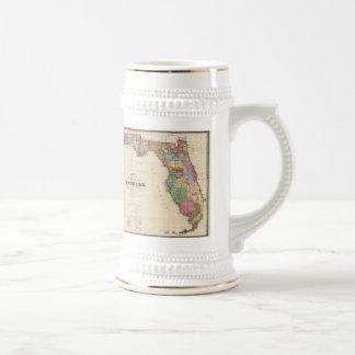 Vintage Map of Florida (1870) Beer Stein